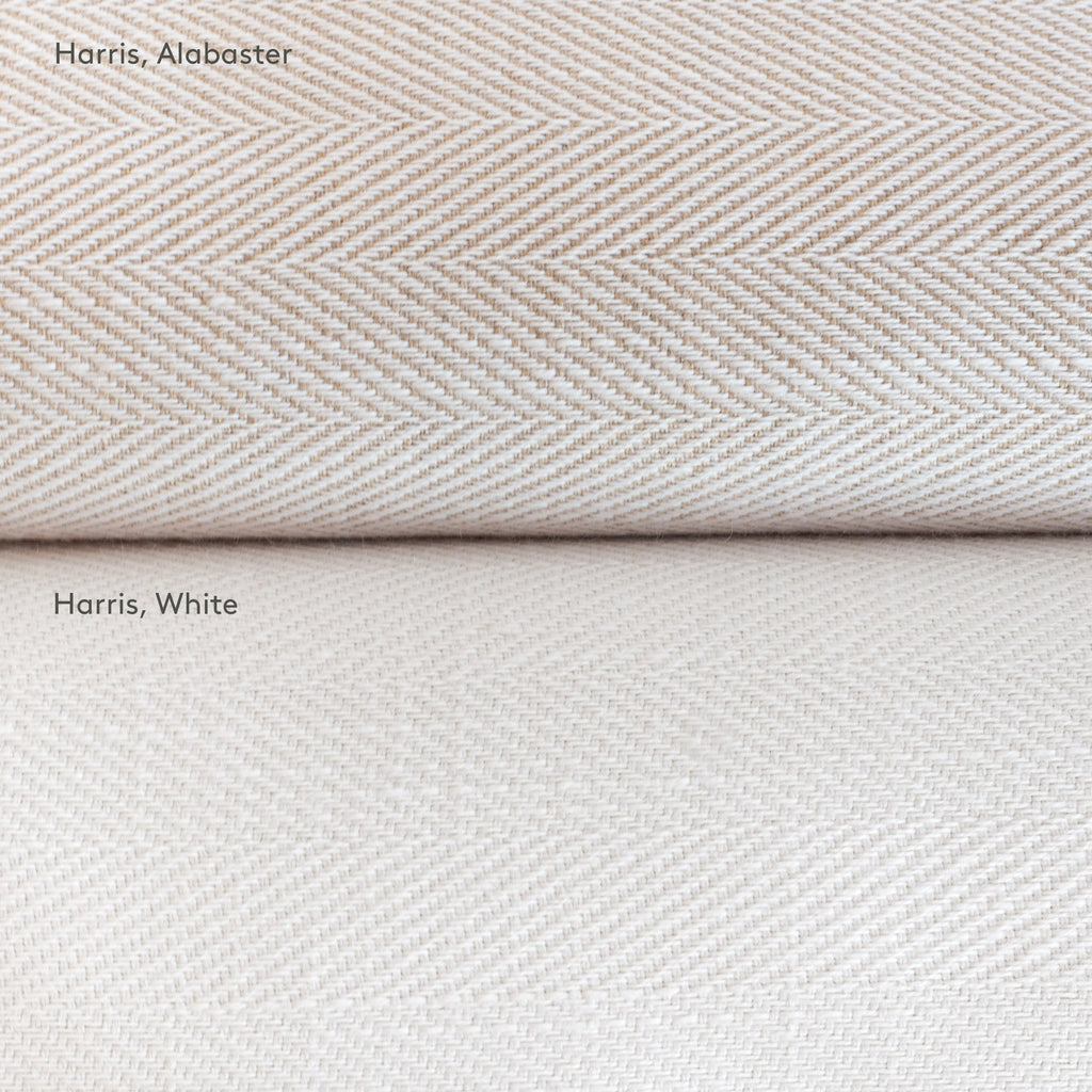 Harris White and Harris Alabaster : neutral herringbone pattern performance upholstery fabric from Tonic Living