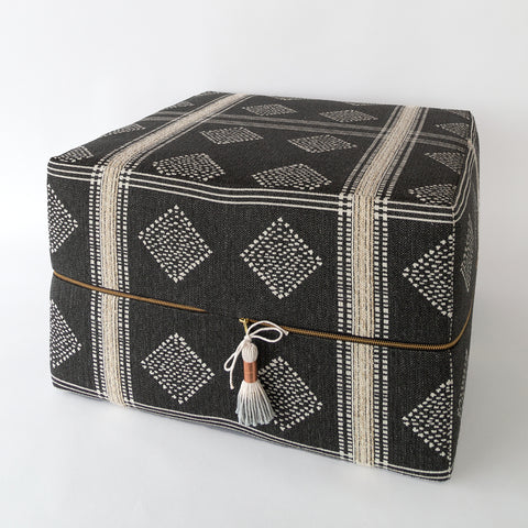 Hobbs Wide Ottoman, dark charcoal grey global-inspired pattern
