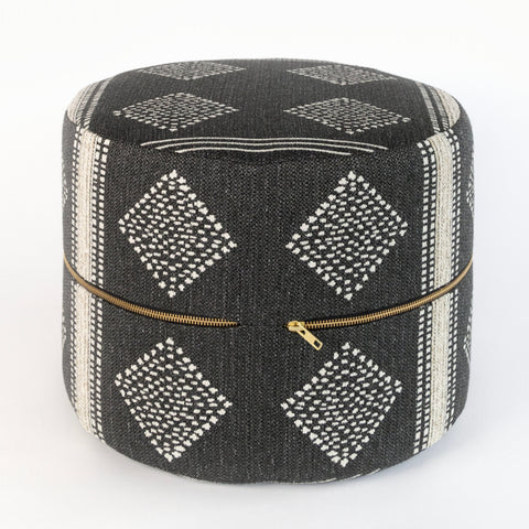 Hobbs mini Ottoman, dark charcoal grey global-inspired pattern