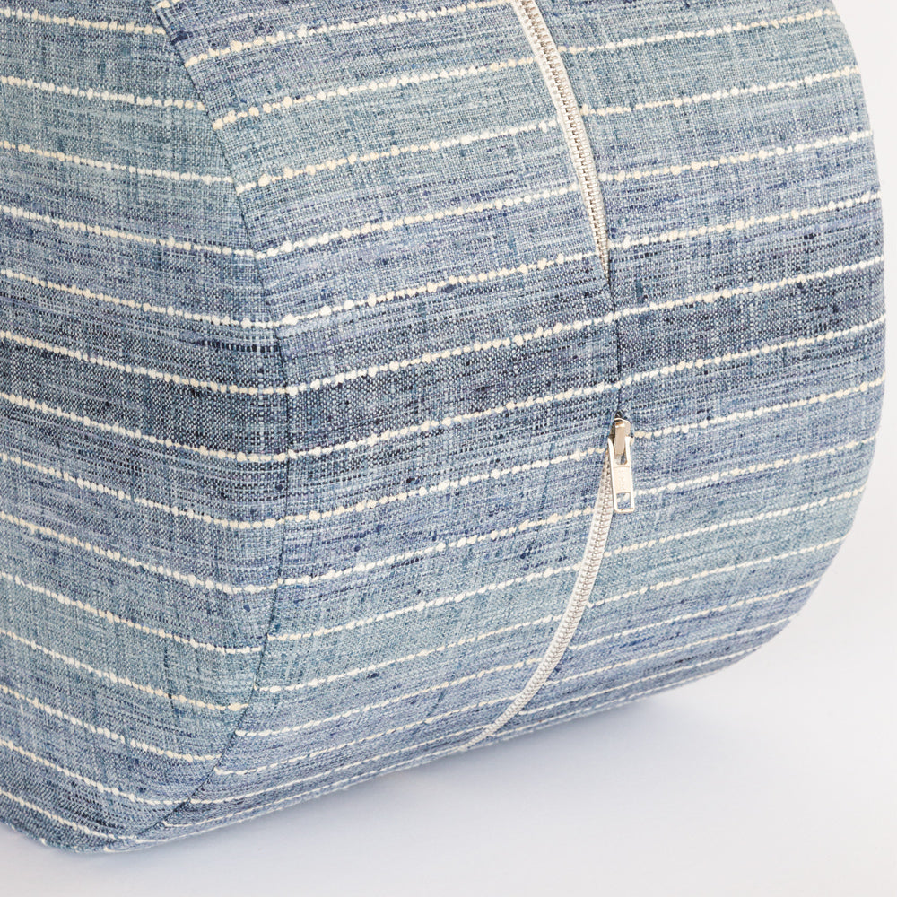 Hyden blue stripe mini round ottoman stool by Tonic Living