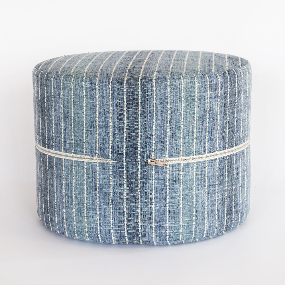 Hyden Stripe Mini Round Stool, Lake Blue