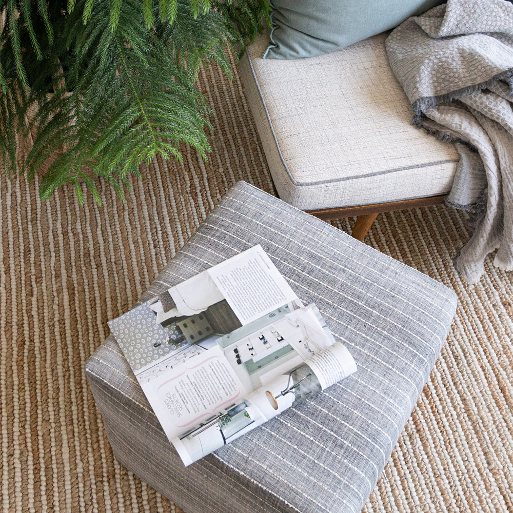 Hyden grey striped cubed ottoman by Tonic Living