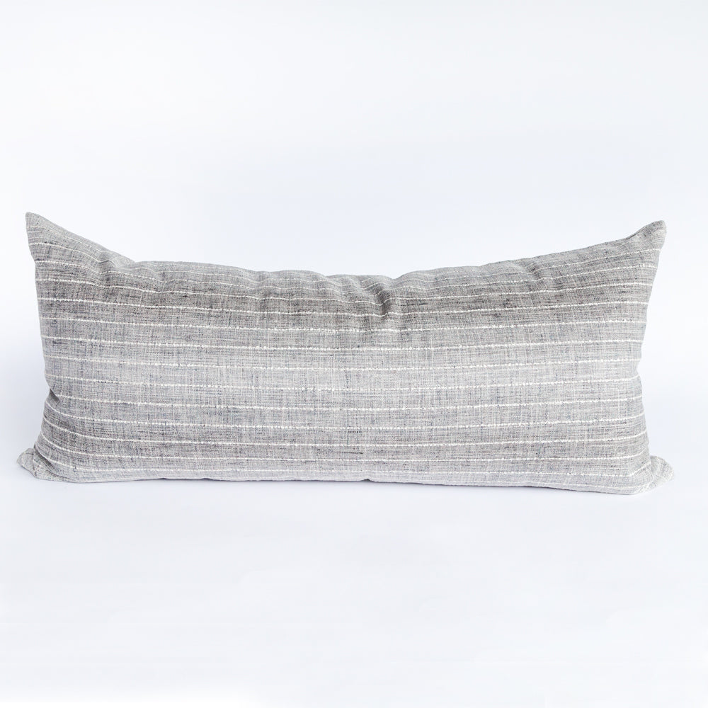 Hyden stripe stone gray extra long lumbar pillow from Tonic Living