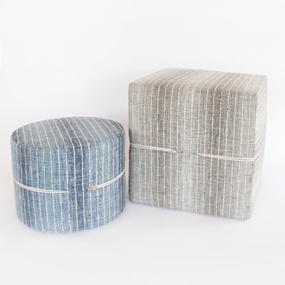 Hyden blue stripe mini round ottoman stool and grey cube ottoman by Tonic Living