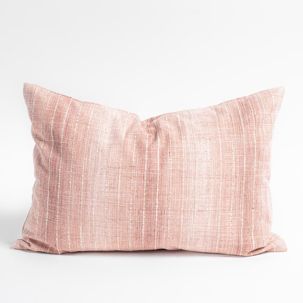 Hyden Stripe 14x20 Lumbar Pillow, Blush Pink