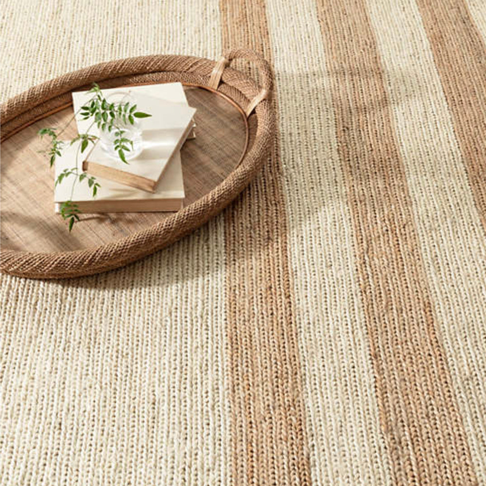 Ipswich natural and beige stripe Dash and Albert rug available at Tonic Living