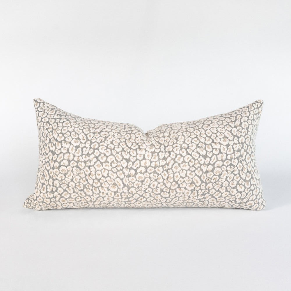 Jackie snow leopard lumbar pillow from Tonic Living