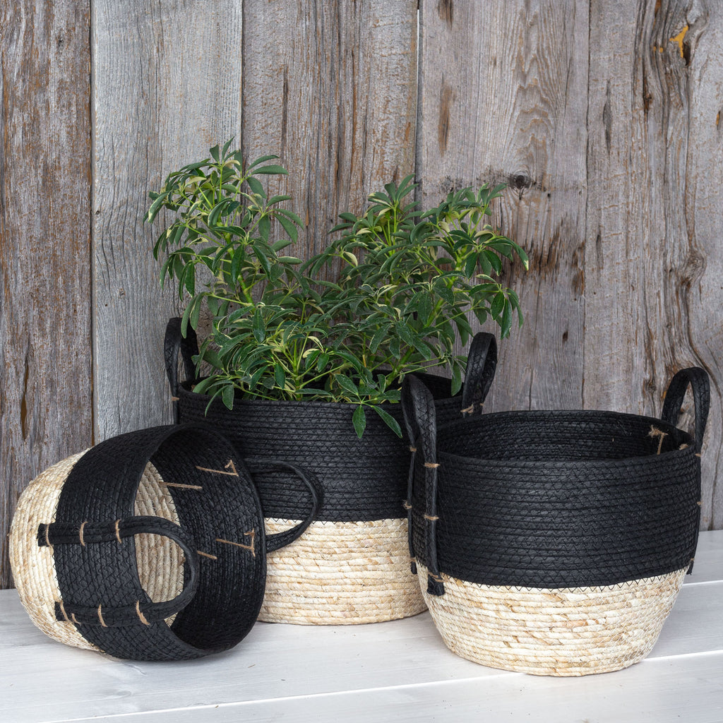 Jiji black and natural straw basket set from Tonic Living