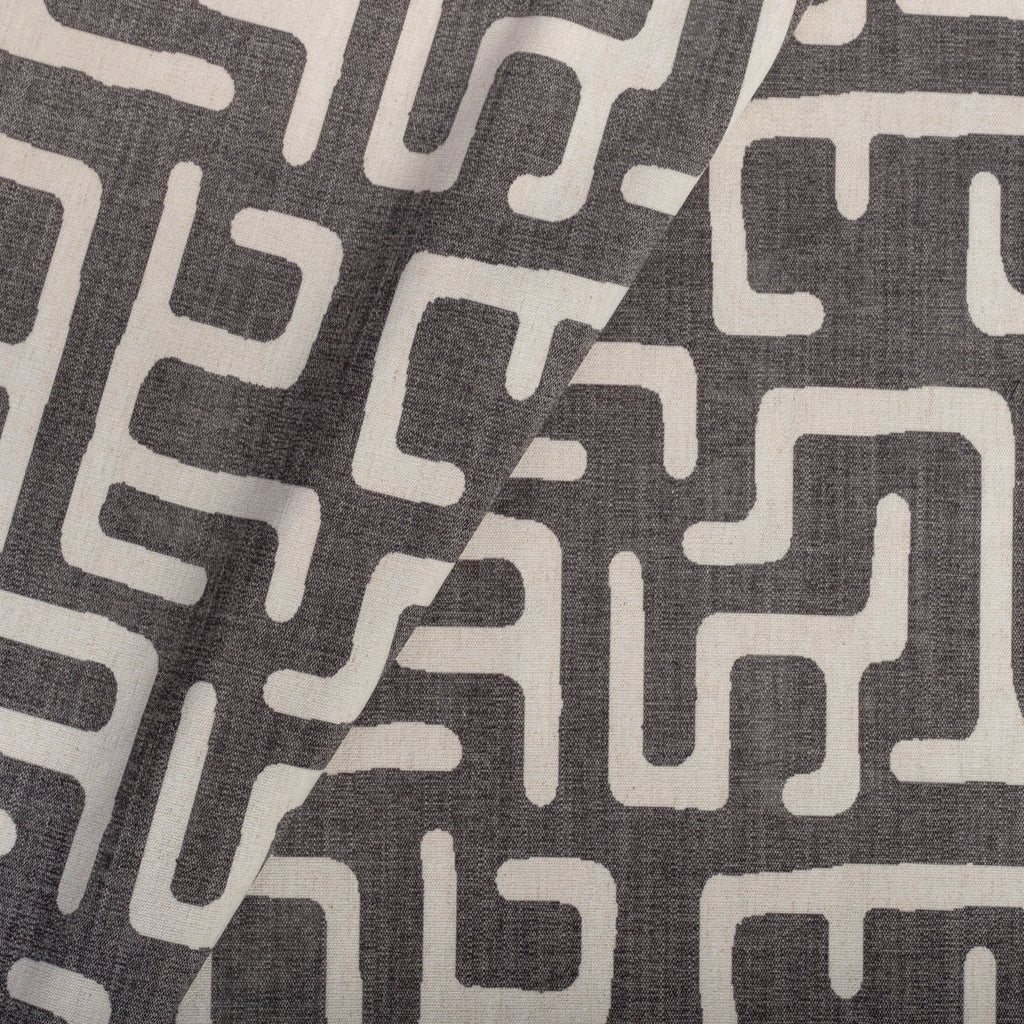 dark grey and beige block print fabric