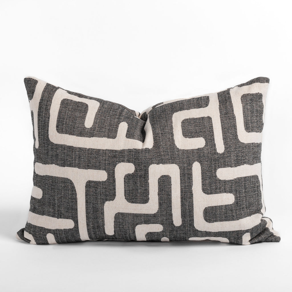Karru charcoal grey lumbar throw pillow from Tonic Living