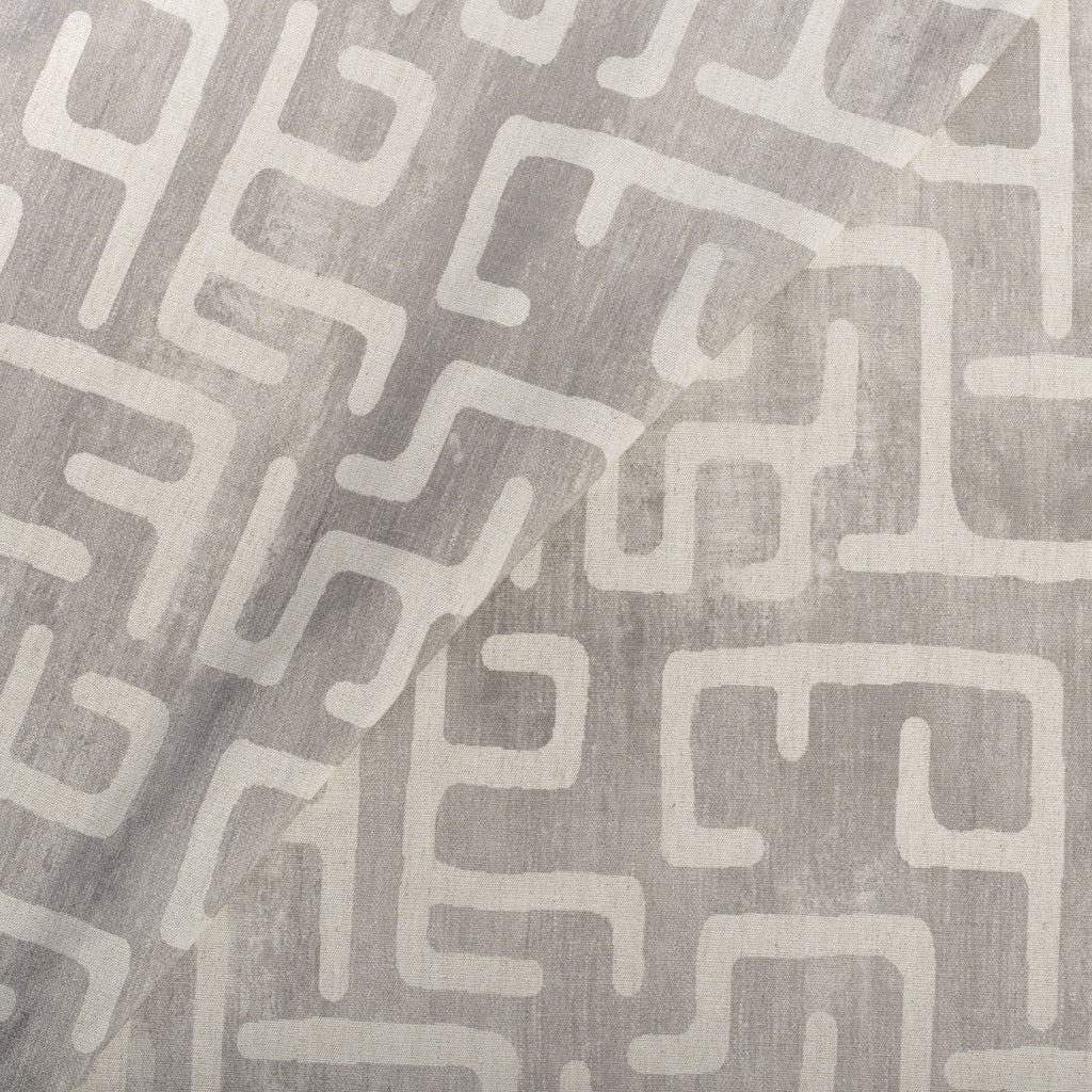 Karru light grey and beige block print fabric from Tonic Living