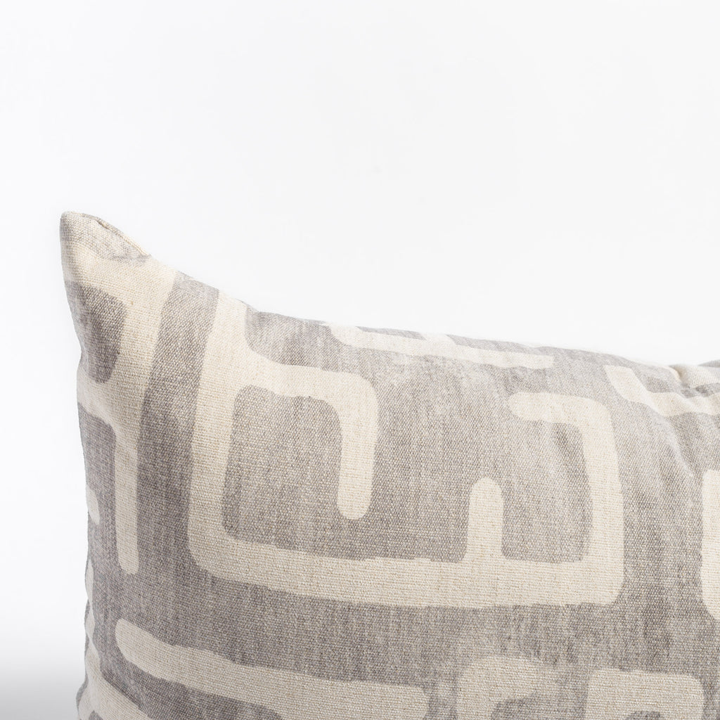 Karru grey and cream abstract print throw pillow close up view