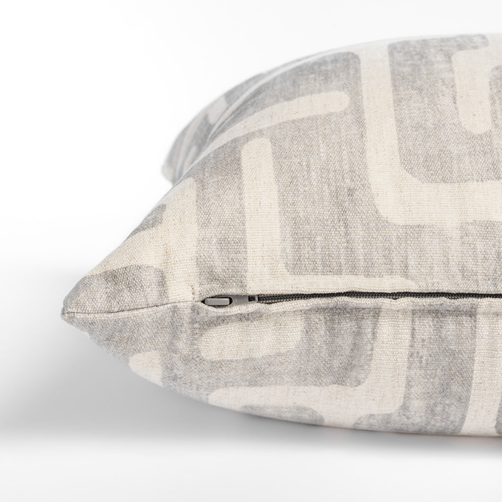 grey and cream abstract print throw pillow zipper detail