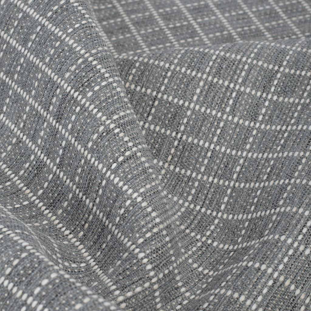Keely Check stone grey and off-white texture stitched windowpane pattern upholstery fabric from Tonic Living
