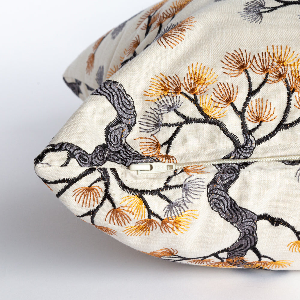 Kumano, a Japanese red pine embroidery pillow from Tonic Living