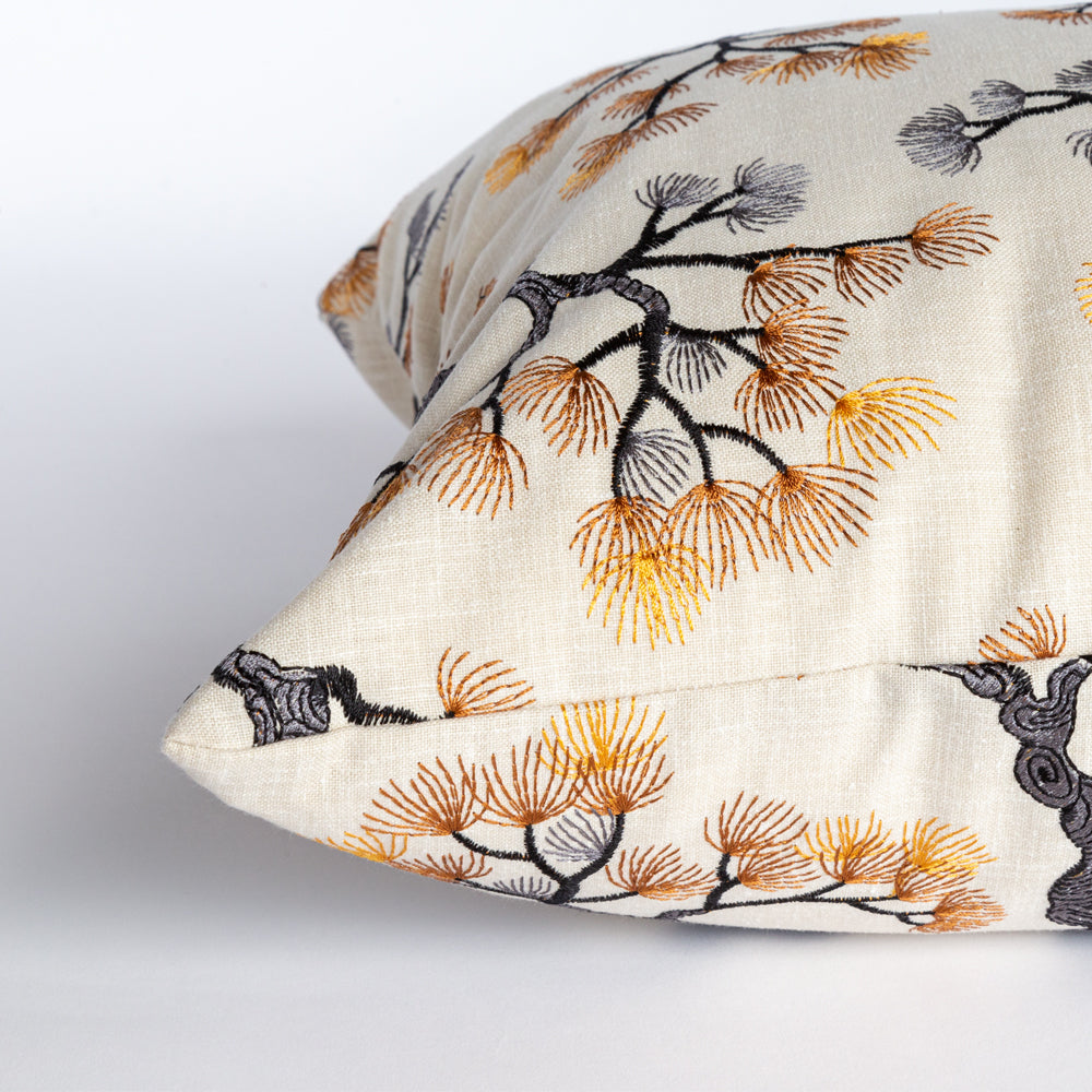 Kumano, a Japanese red pine embroidery lumbar pillow from Tonic Living