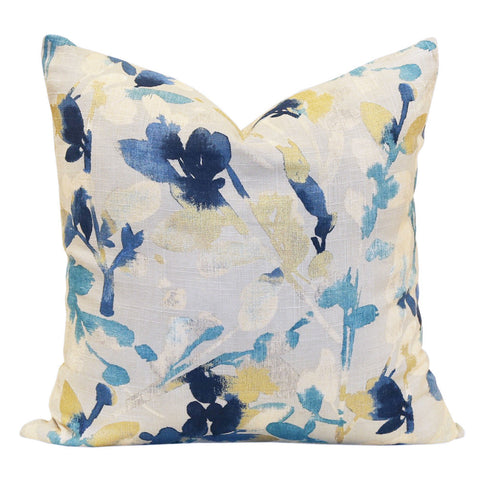 Leaf Storm, Indigo - A watery floral pillow in light grey, cream, gold, indigo and sky blue with an exposed brass zipper.