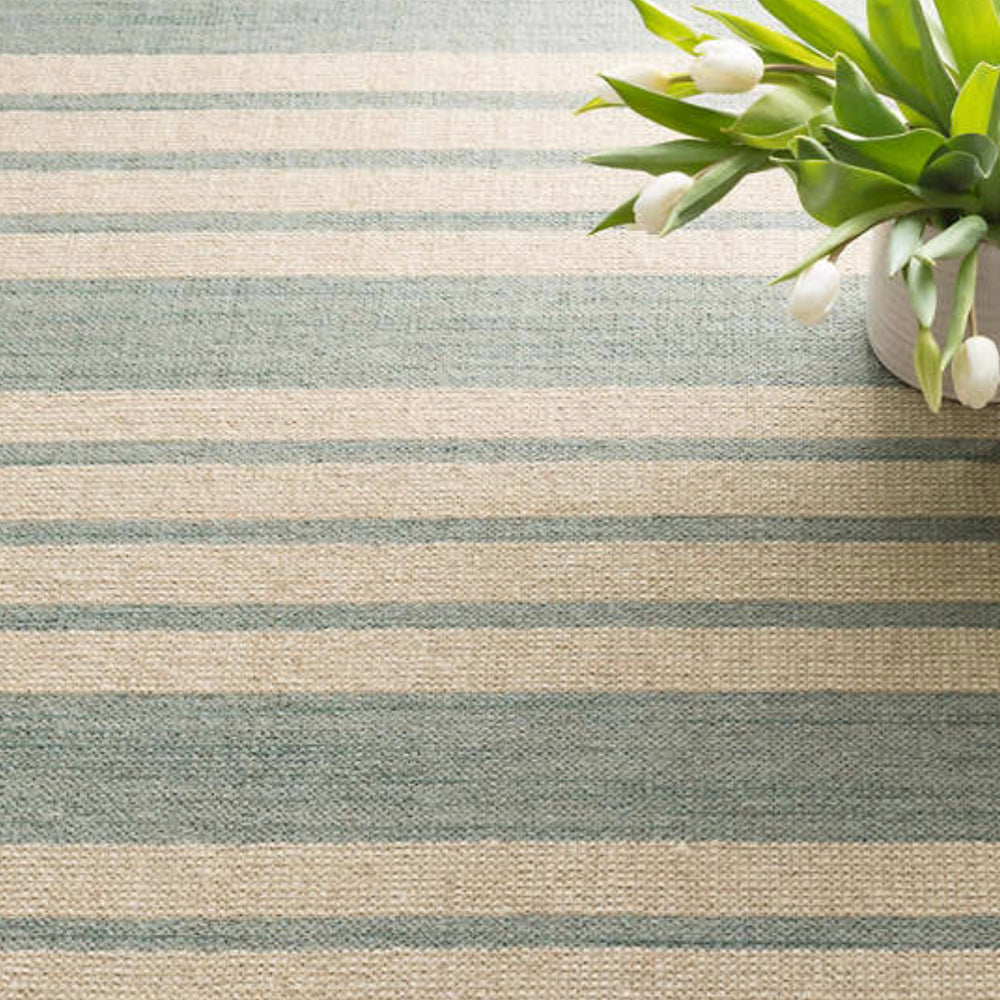 Lenox Seagrass green and beige stripe Dash and Albert rug available at Tonic Living
