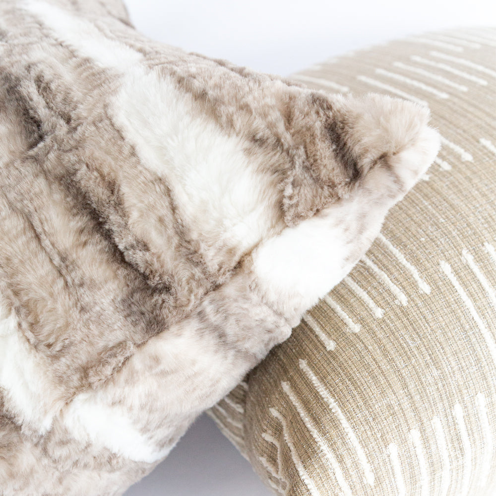 Lupa, beige and brown fake fur and Harlow beige pillow from Tonic Living