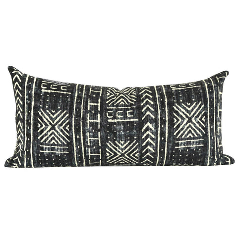 "Mali Mud Cloth Pillow  12"" x 24"" - A classic, well traveled, mud cloth pillow in faded black and cream for some grounding effect. Perfect for your sofa pillow mix or top of bed."