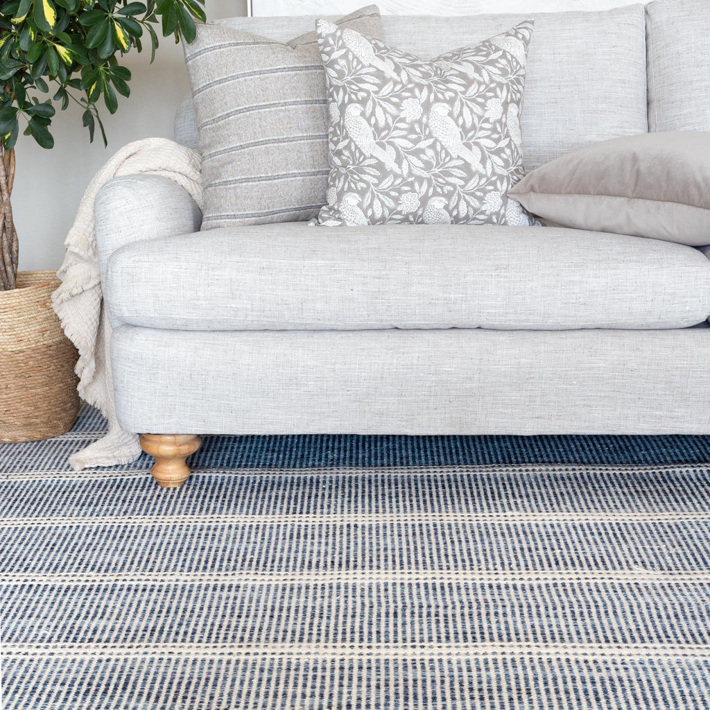 Malta blue and cream wool rug