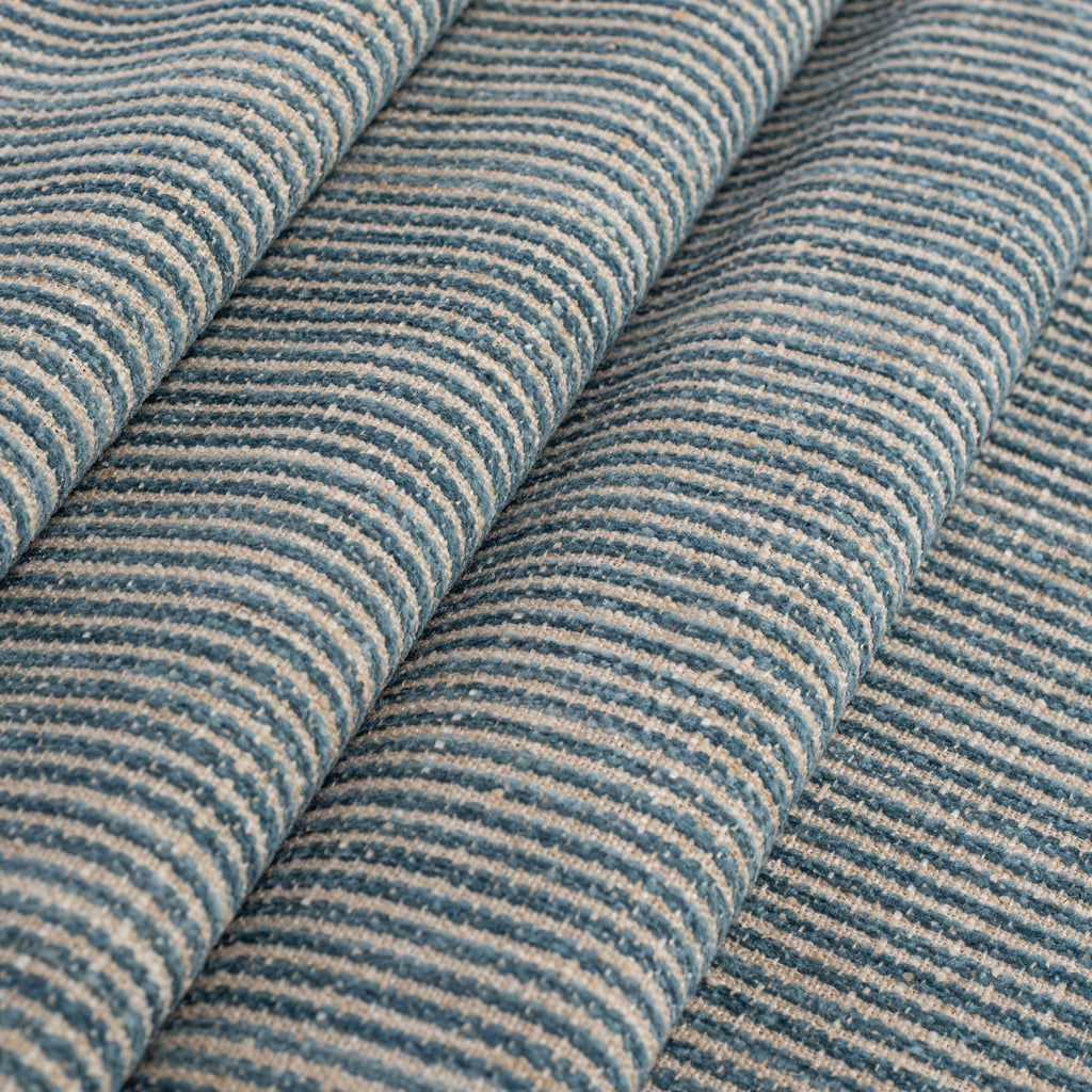 blue green and flax chenille striped fabric