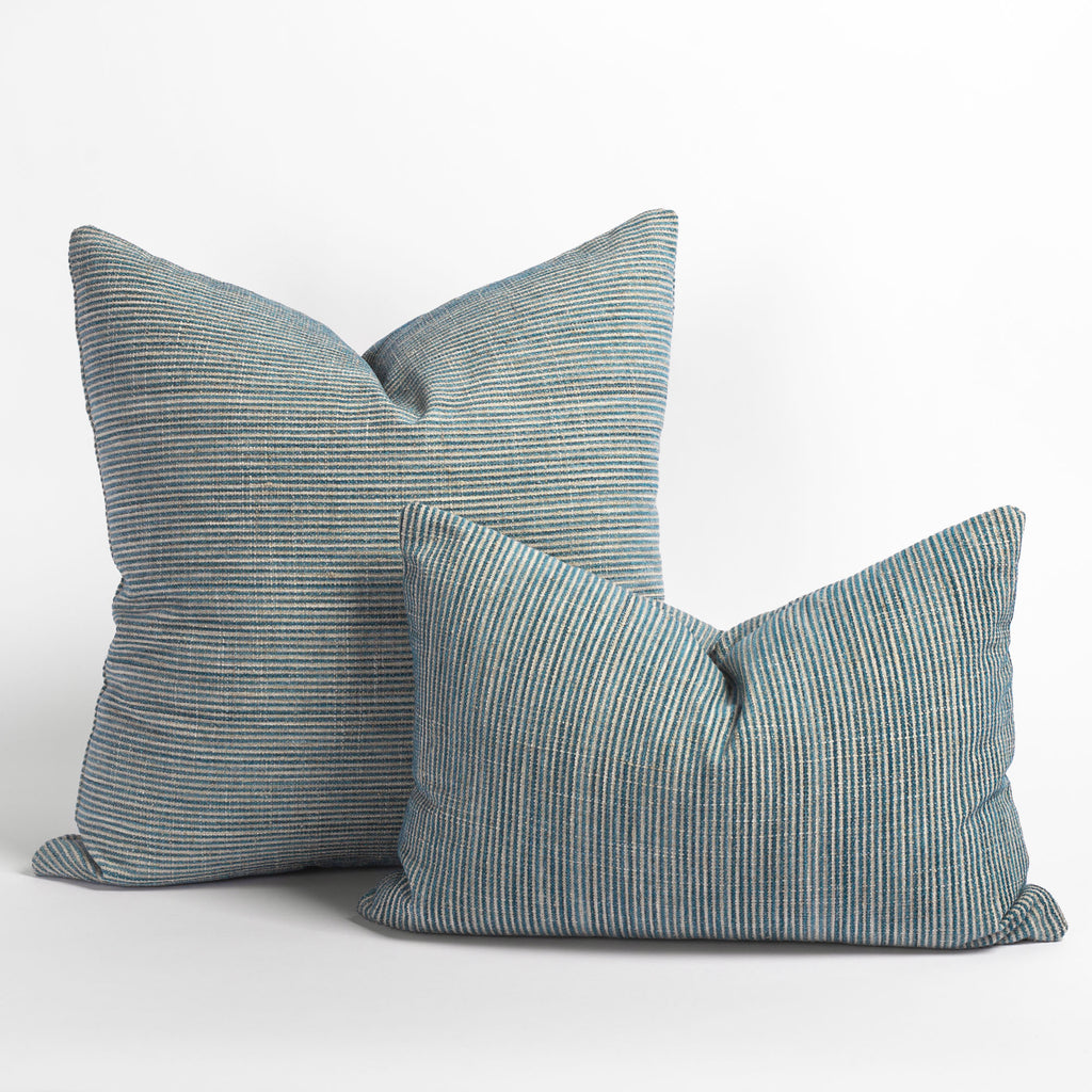 "Marklin seaglass blue striped throw pillows in 22"" and lumbar size from Tonic Living"