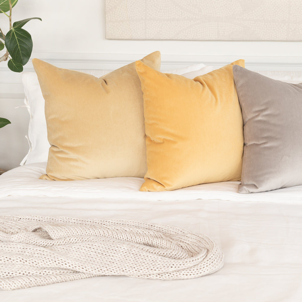 yellow and beige velvet pillows Tonic Living
