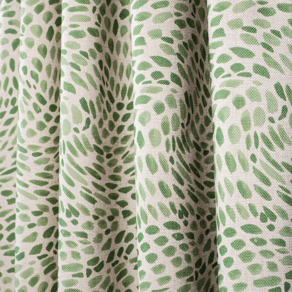 Mazzy Greenstone, a green swirl print fabric from Tonic Living