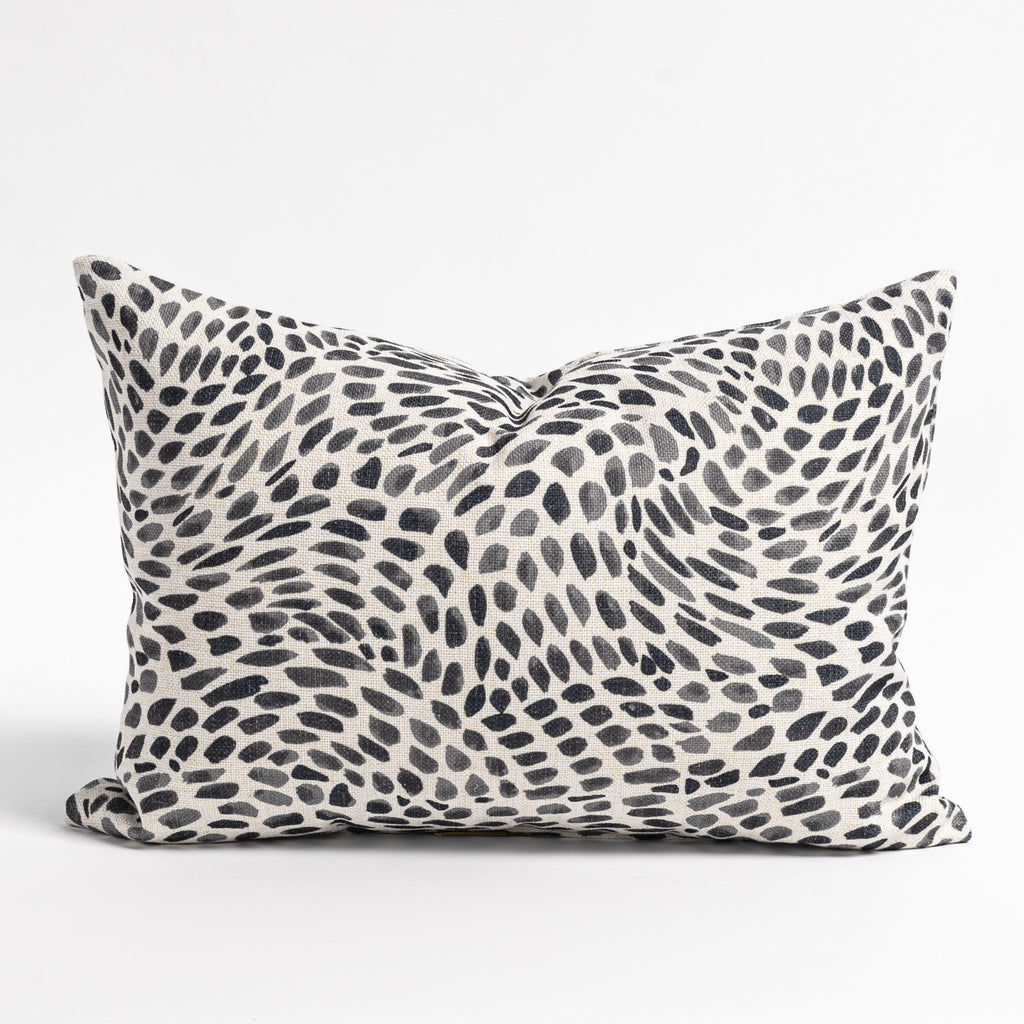 Mazzy black and white brush stroke print lumbar pillow from Tonic Living