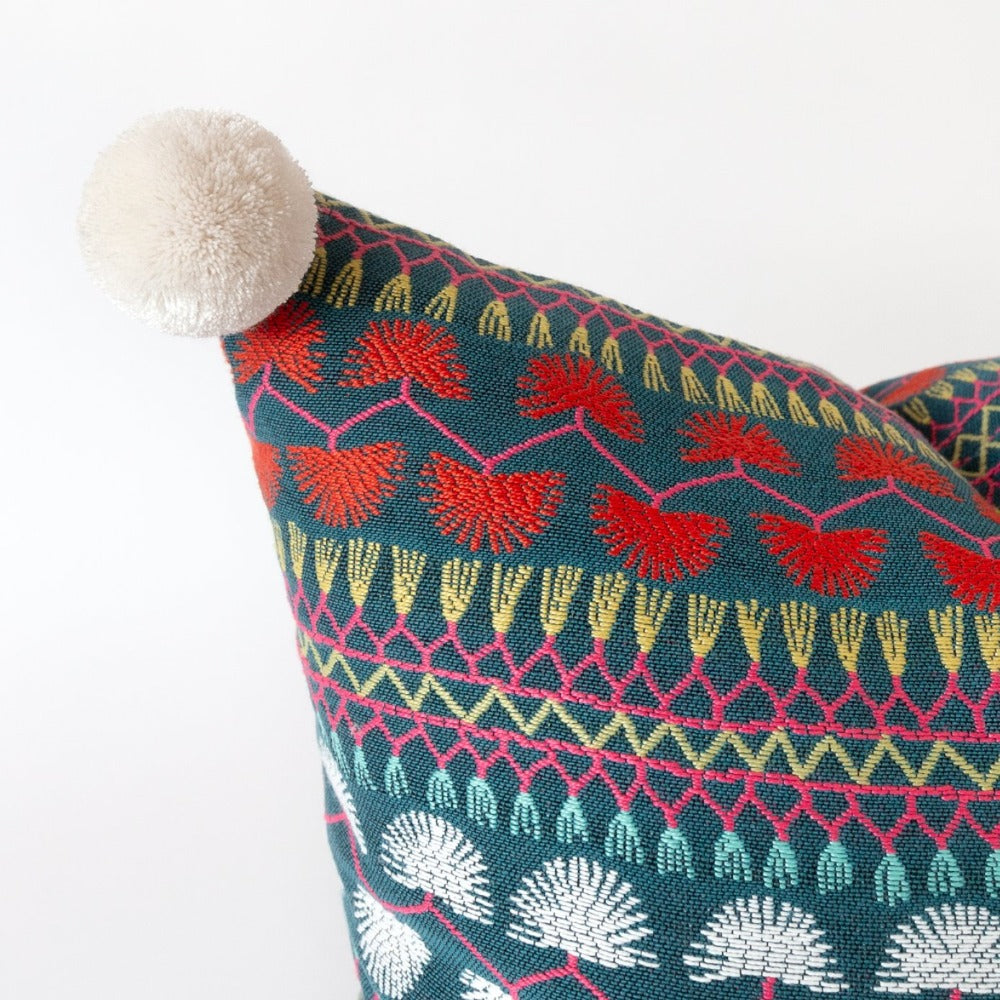 Mercado colourful boho pom pom pillow by Tonic Living