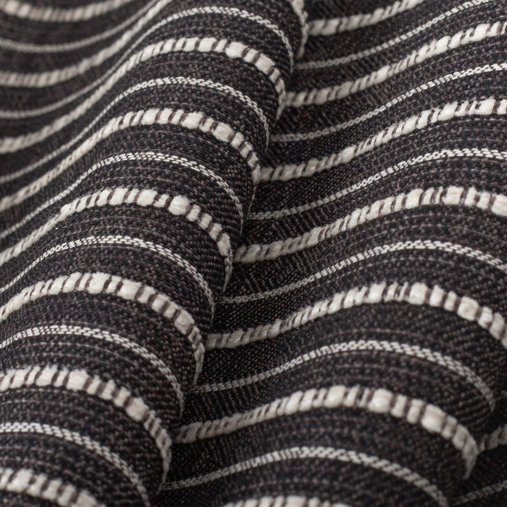 Misto Stripe Charcoal, a faded black and cream horizontal striped Crypton home performance fabric : detailed view