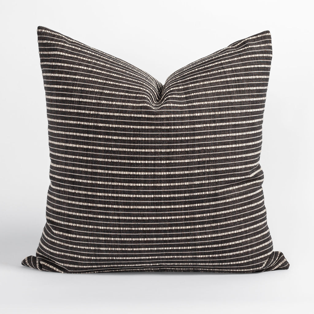 Misto 22x22 Pillow Charcoal, a faded black and textured cream stripe pillow from Tonic Living
