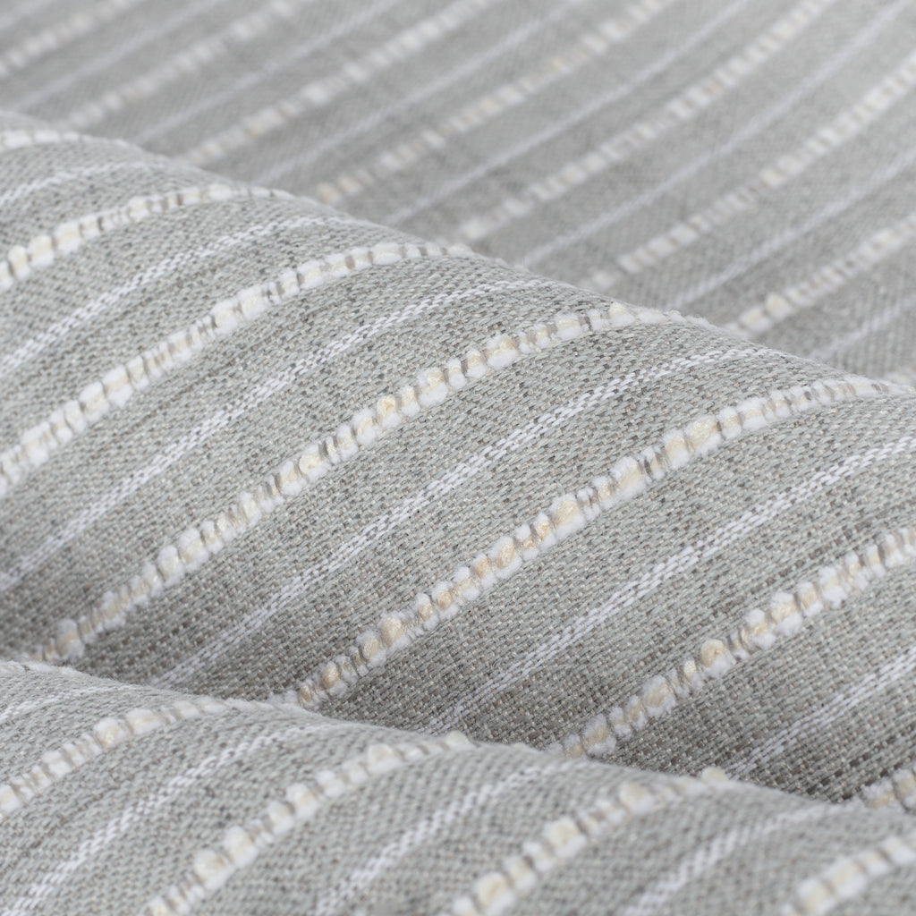 Misto Fog Grey, a cool grey and cream horizontal striped Crypton Home performance fabric : close up view