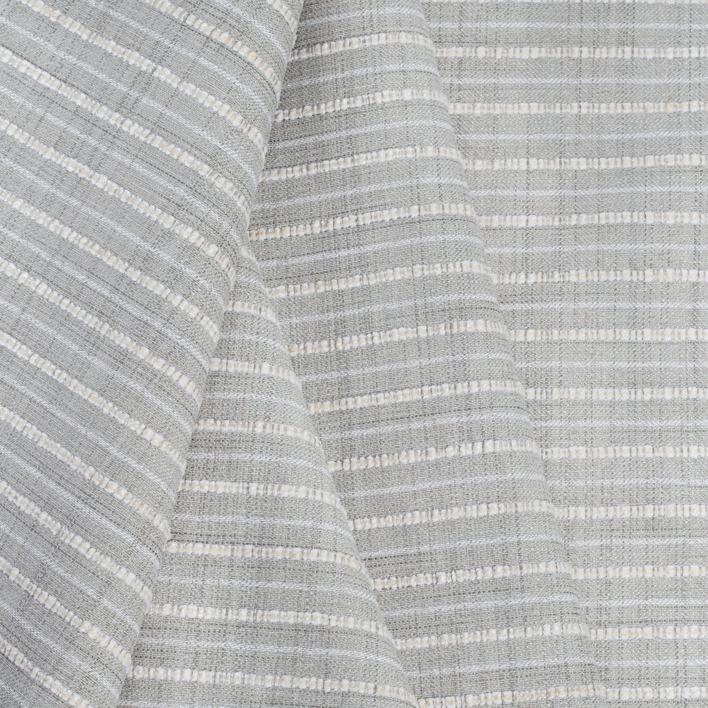 Misto Fog Grey, a cool grey and cream horizontal striped Crypton Home performance fabric from Tonic Living