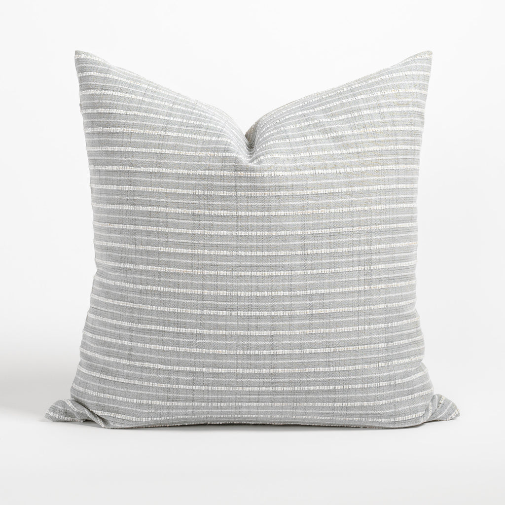 Misto 20x20 Pillow Fog, a light grey and cream textured stripe pillow from Tonic Living