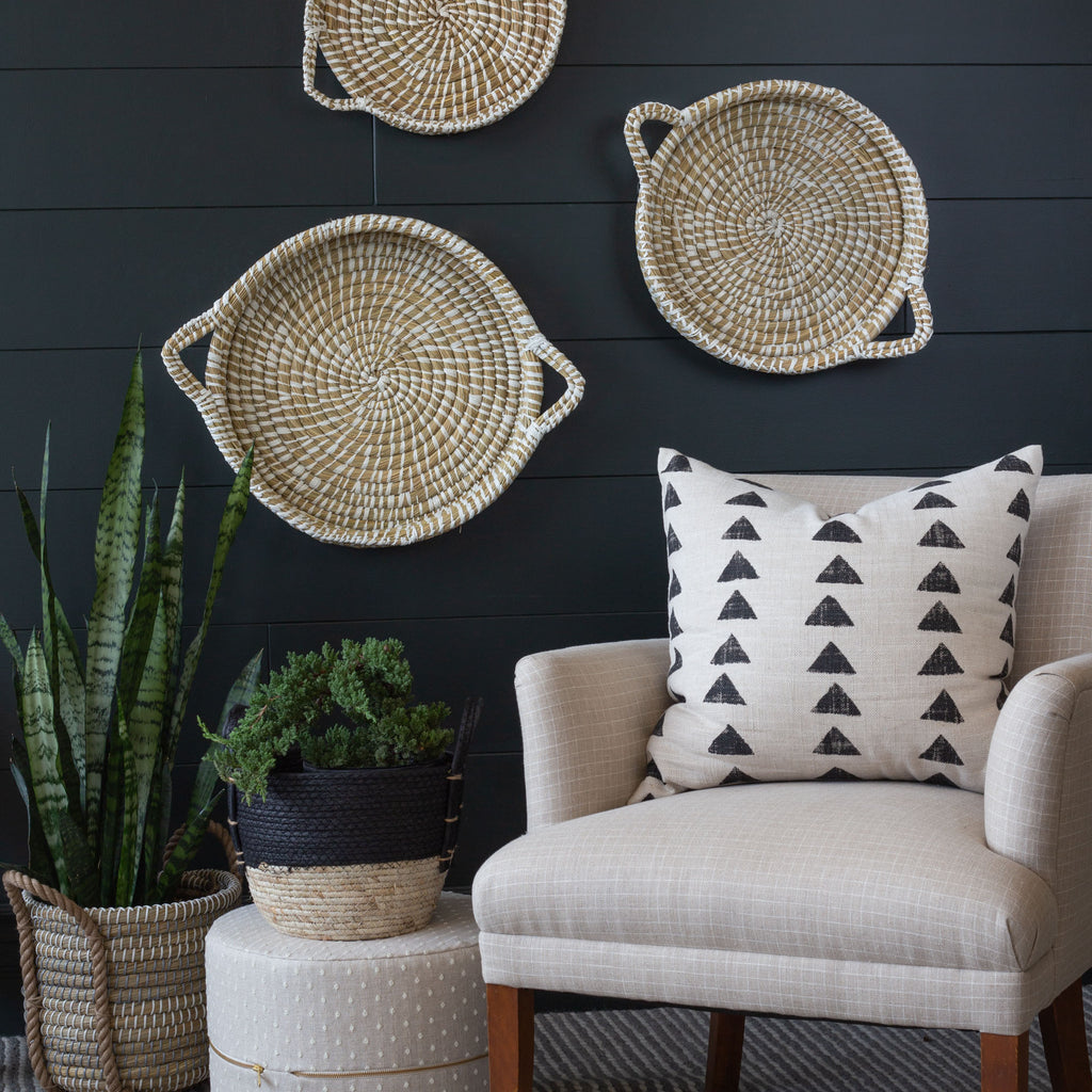 Natural and white straw tray set wall decor from Tonic Living