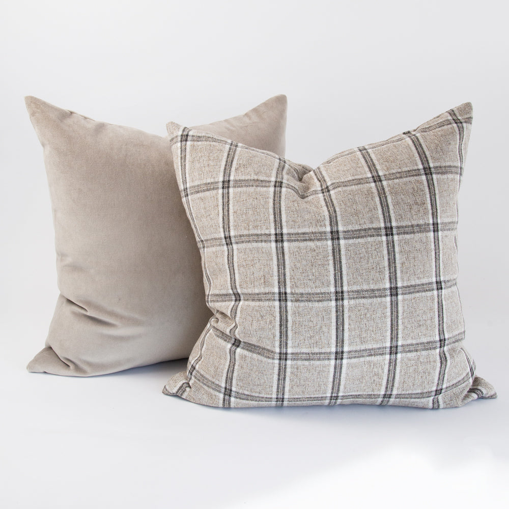 Nantucket Plaid Zinc and Mason Velvet Mushroom, grey pillows from Tonic Living