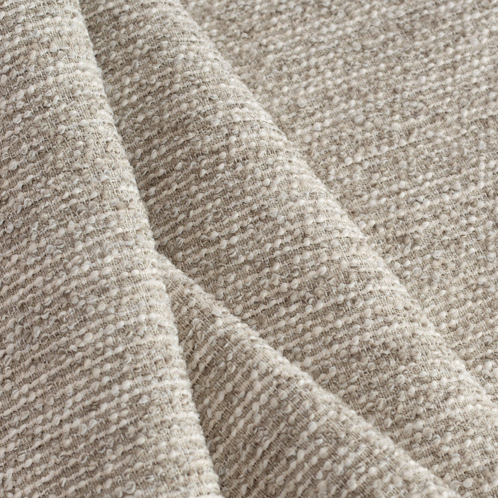 beige grey boucle textured upholstery fabric