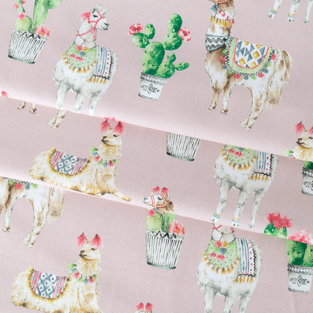 No Probllama, Desert Pink blush fabric with a playful cacti and llama print