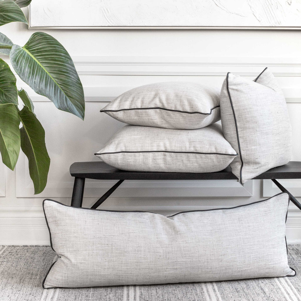 Nora, modern cream and grey pillows with black piping from Tonic Living