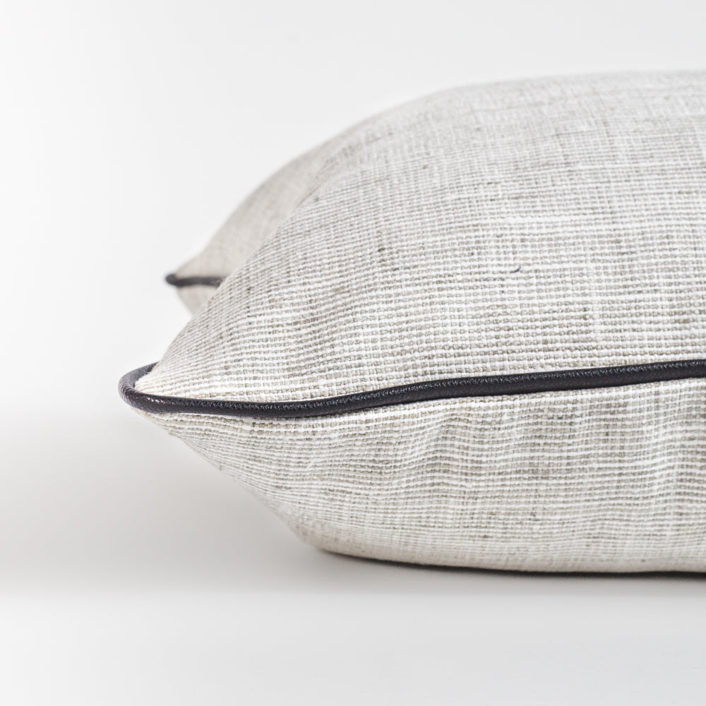 Nora cream and grey long bolster bed pillow with black piping from Tonic Living