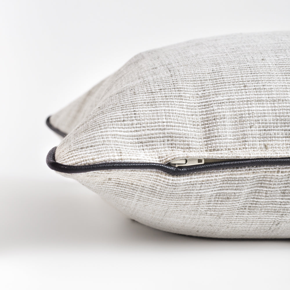 Nora cream and grey with black piping long bolster bed pillow from Tonic Living