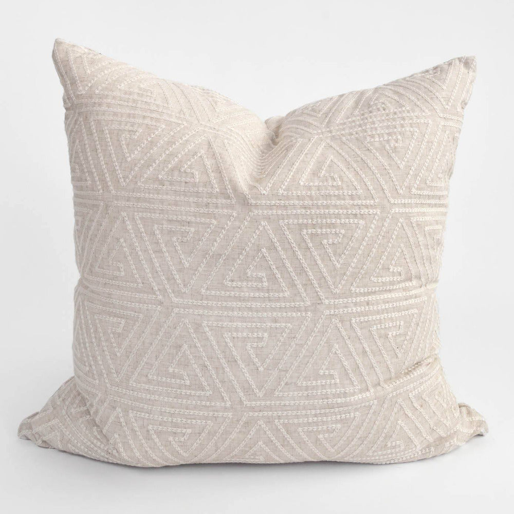 Olivia embroidered beige pillow from Tonic Living