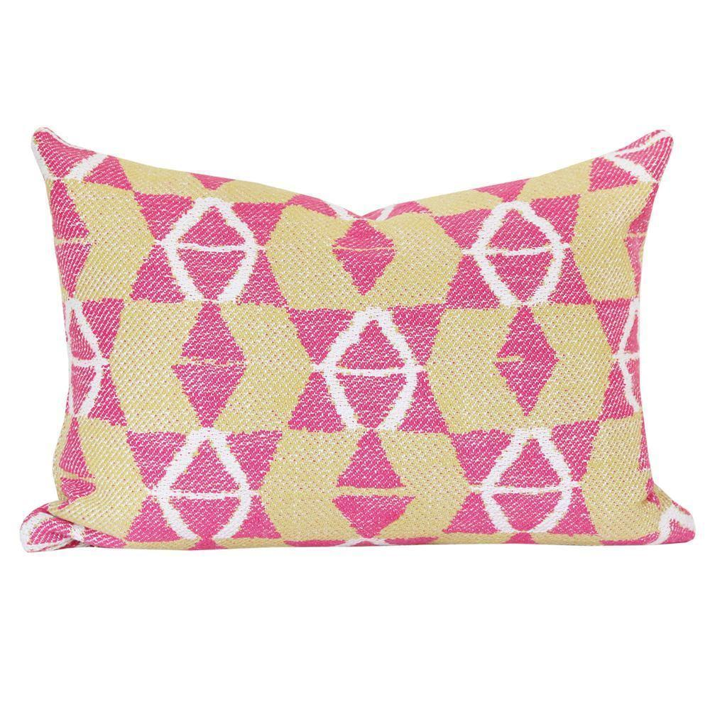 "A smaller scale geometric pillow with a global punch in 14"" x 20""."