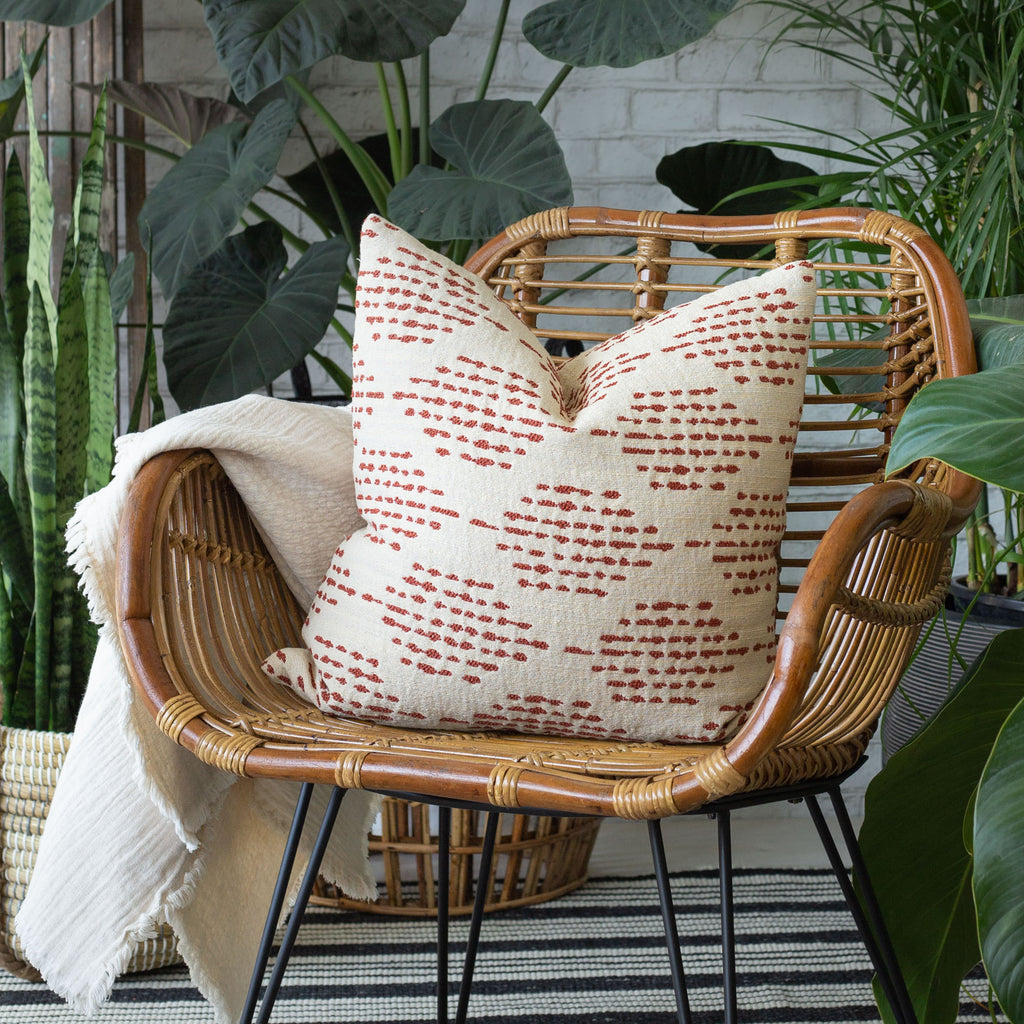 indoor outdoor home decor vignette: Ophelia Rust red and cream pillow