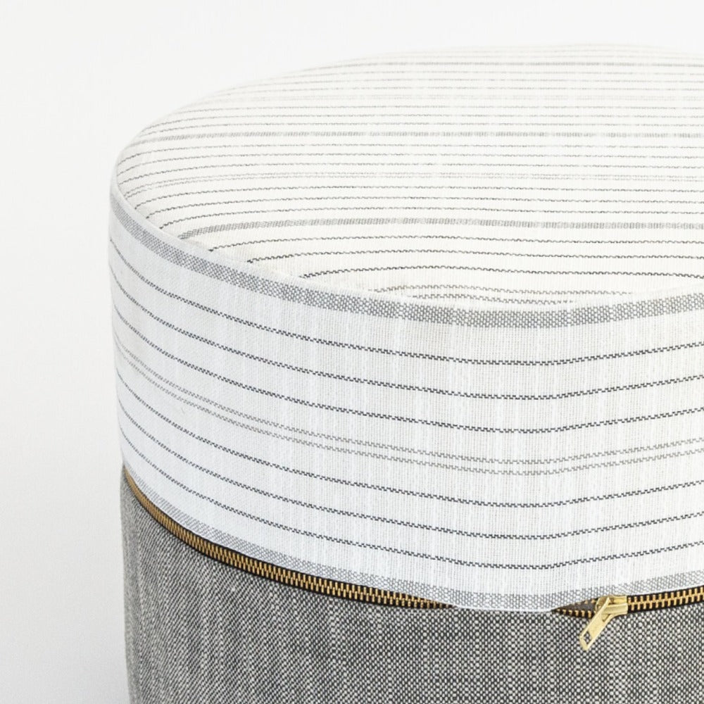 Oscar white and dark grey mini ottoman from Tonic Living Rollo fabric