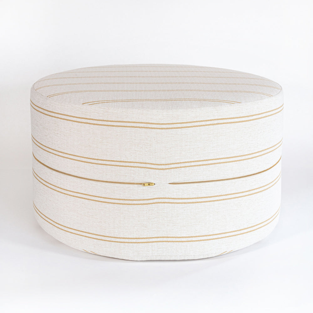 Oud cork stripe high performance large round ottoman table from Tonic Living