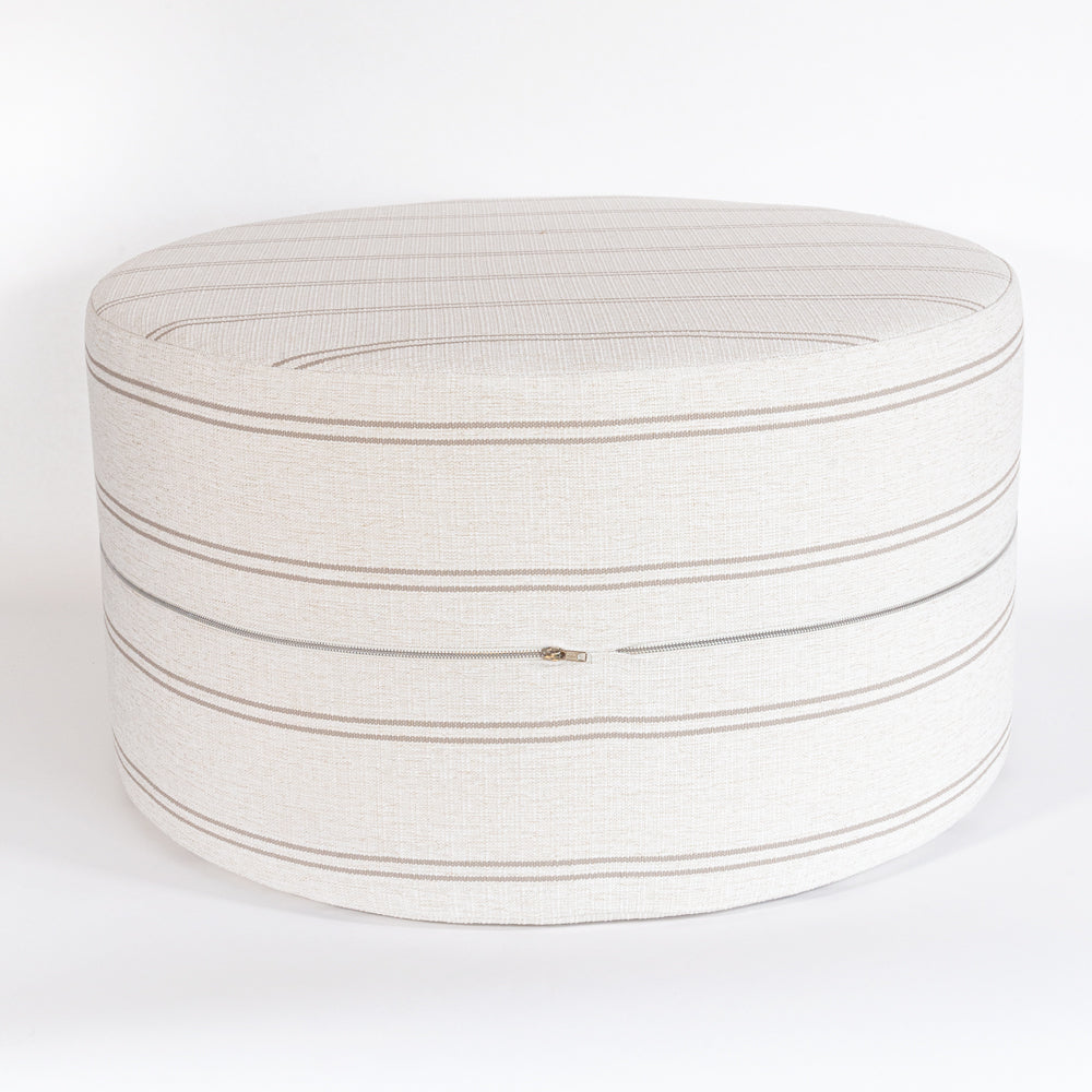 Oud hemp, a taupe stripe high performance large round ottoman table from Tonic Living