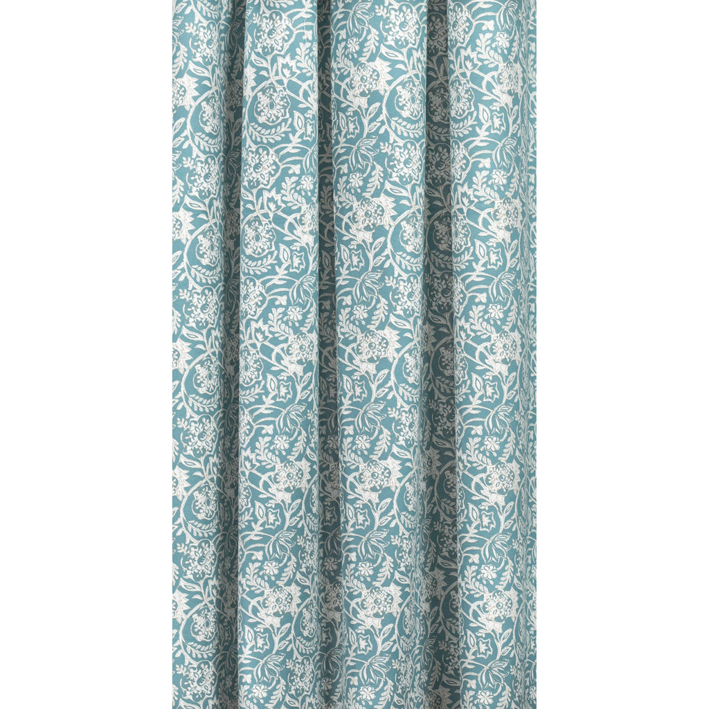 Padma Aqua, an aqua blue and cream tapestry block print pattern cotton fabric : draped view